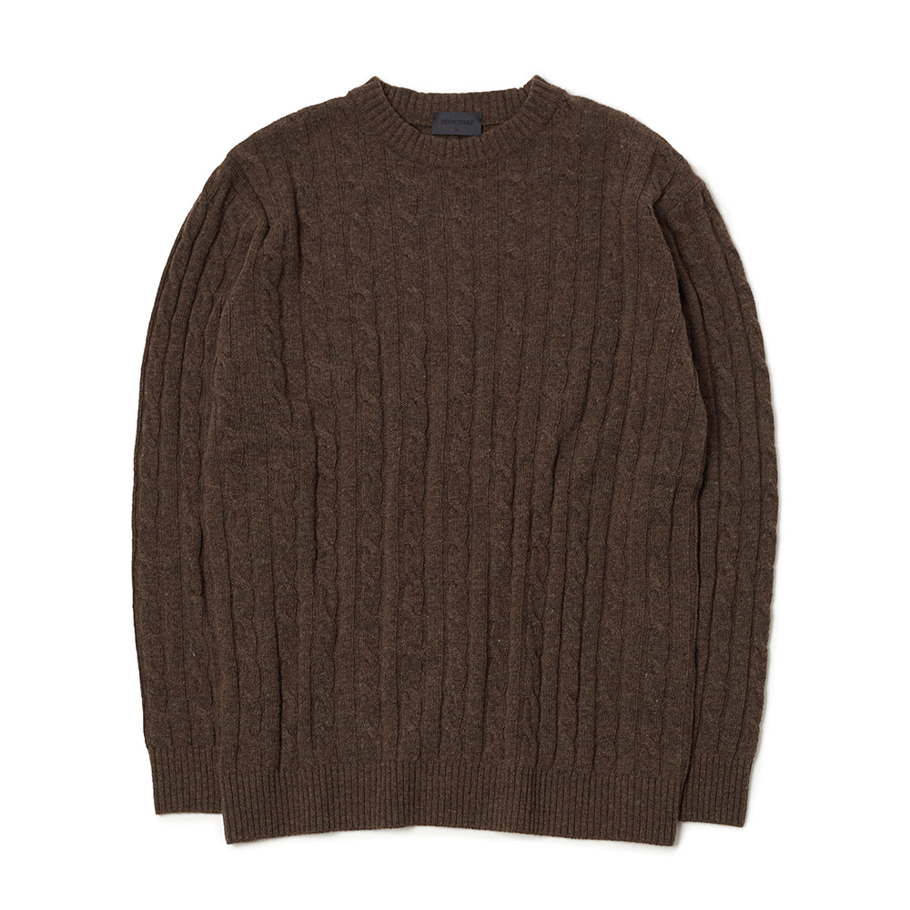 [MIJ] Anthony Cable Crew-neck Sweater - Melange Brown