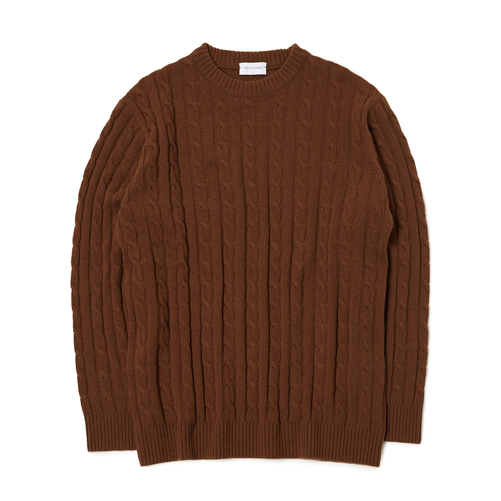 [MIJ] Anthony Cable Crew-neck Sweater - Ochre Brown