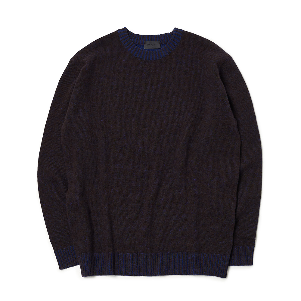 [MIJ] Andy Mixed Crew-neck Sweater - Brown