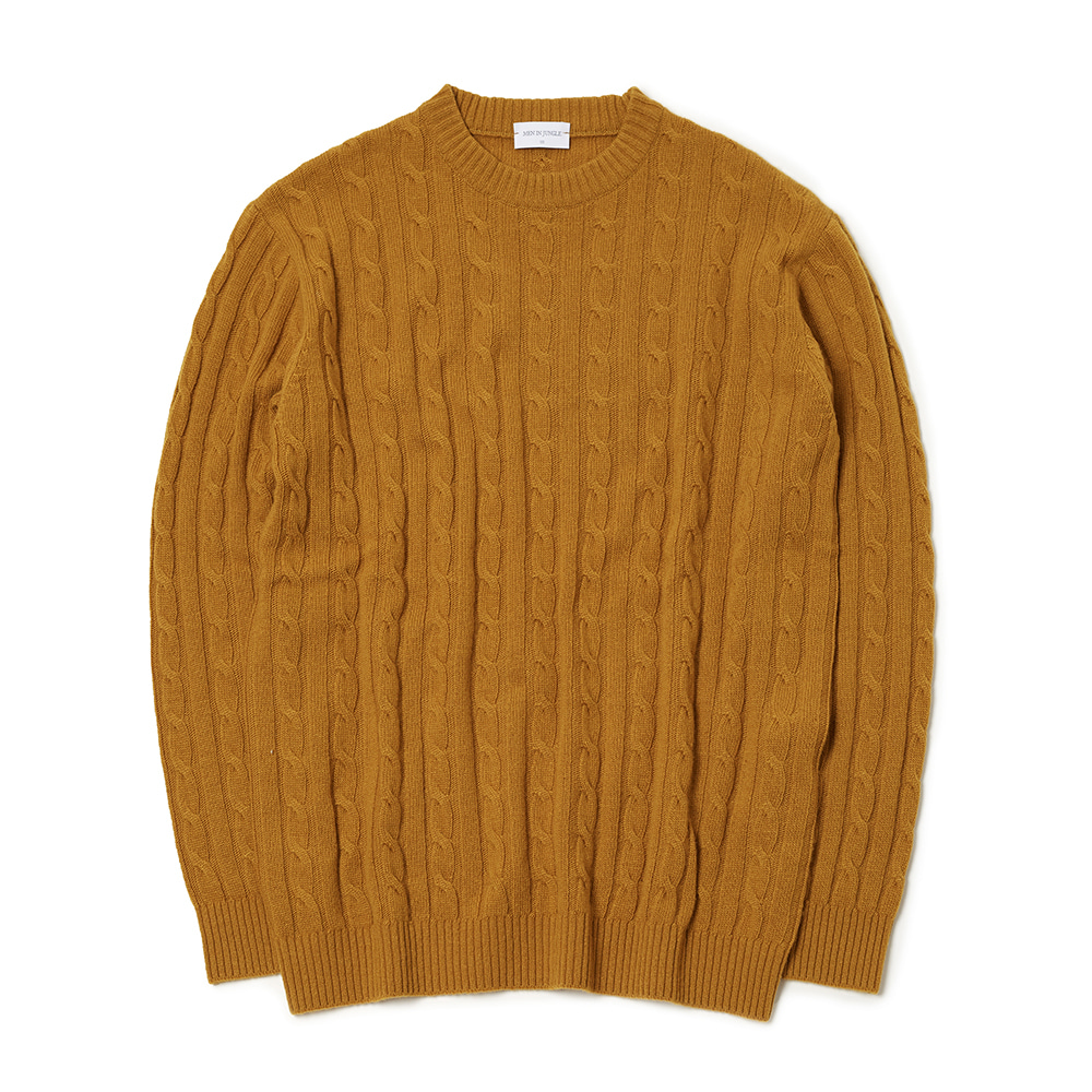 [MIJ] Anthony Cable Crew-neck Sweater - Mustard