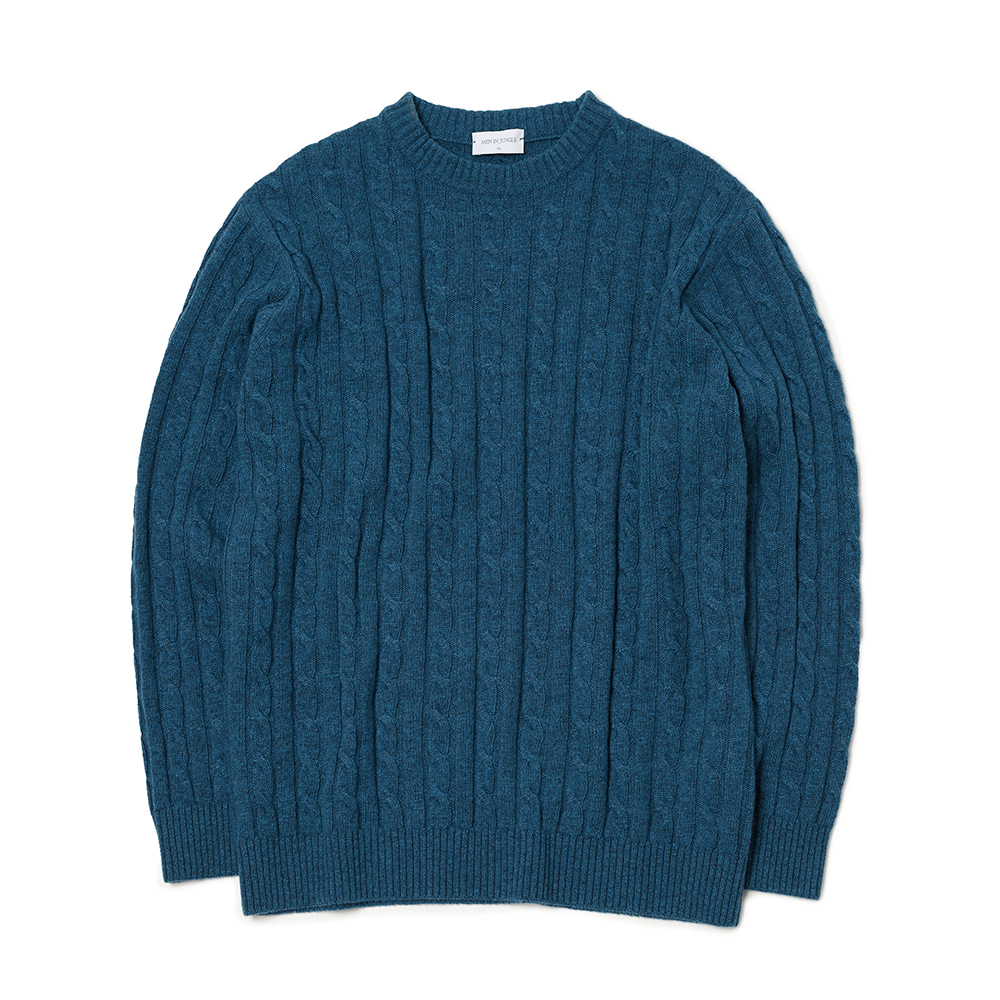 [MIJ] Anthony Cable Crew-neck Sweater - Blue Green