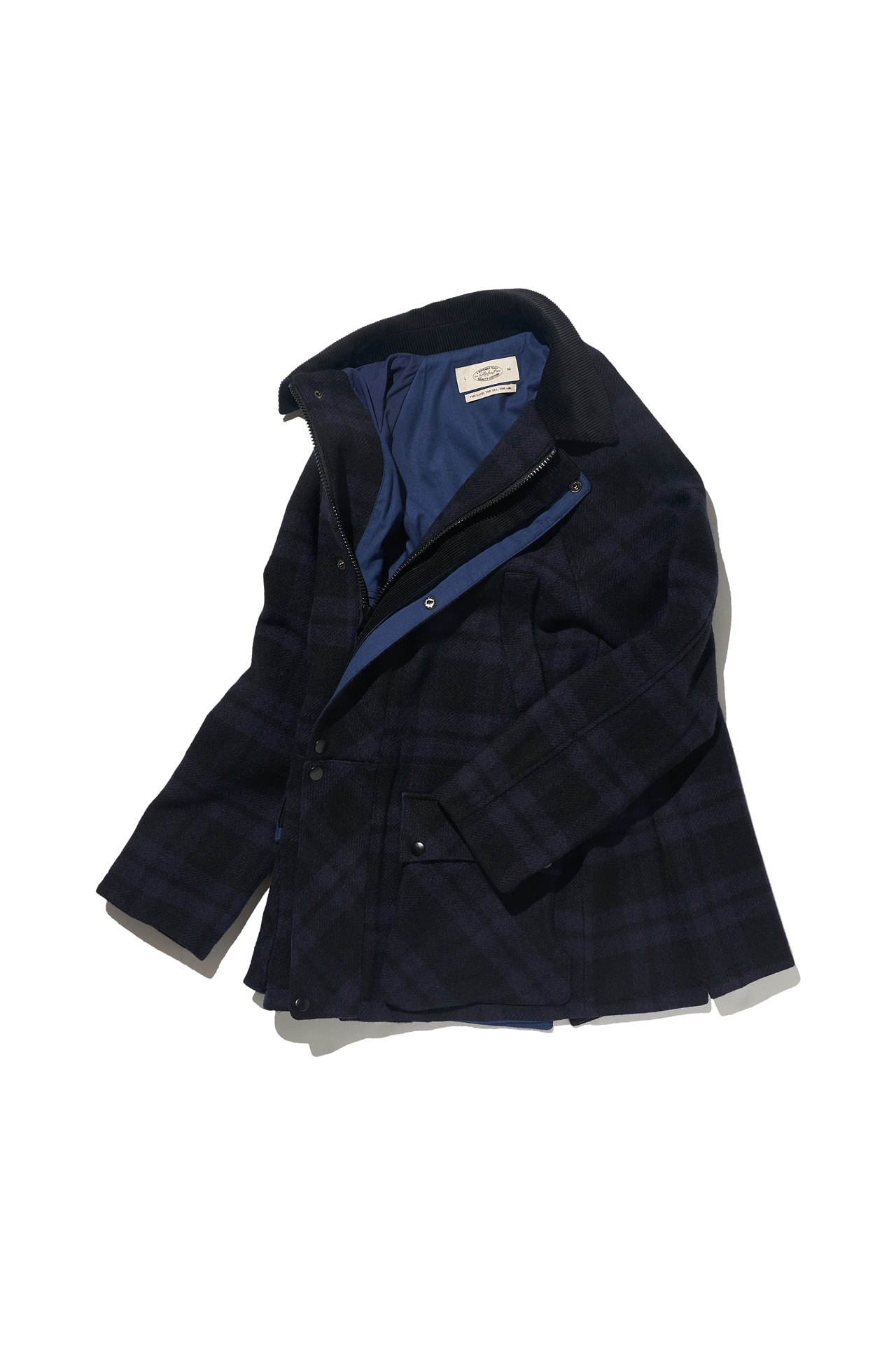 [Amfeast] NAVY TARTAN SIGNATURE CITY HALF COAT