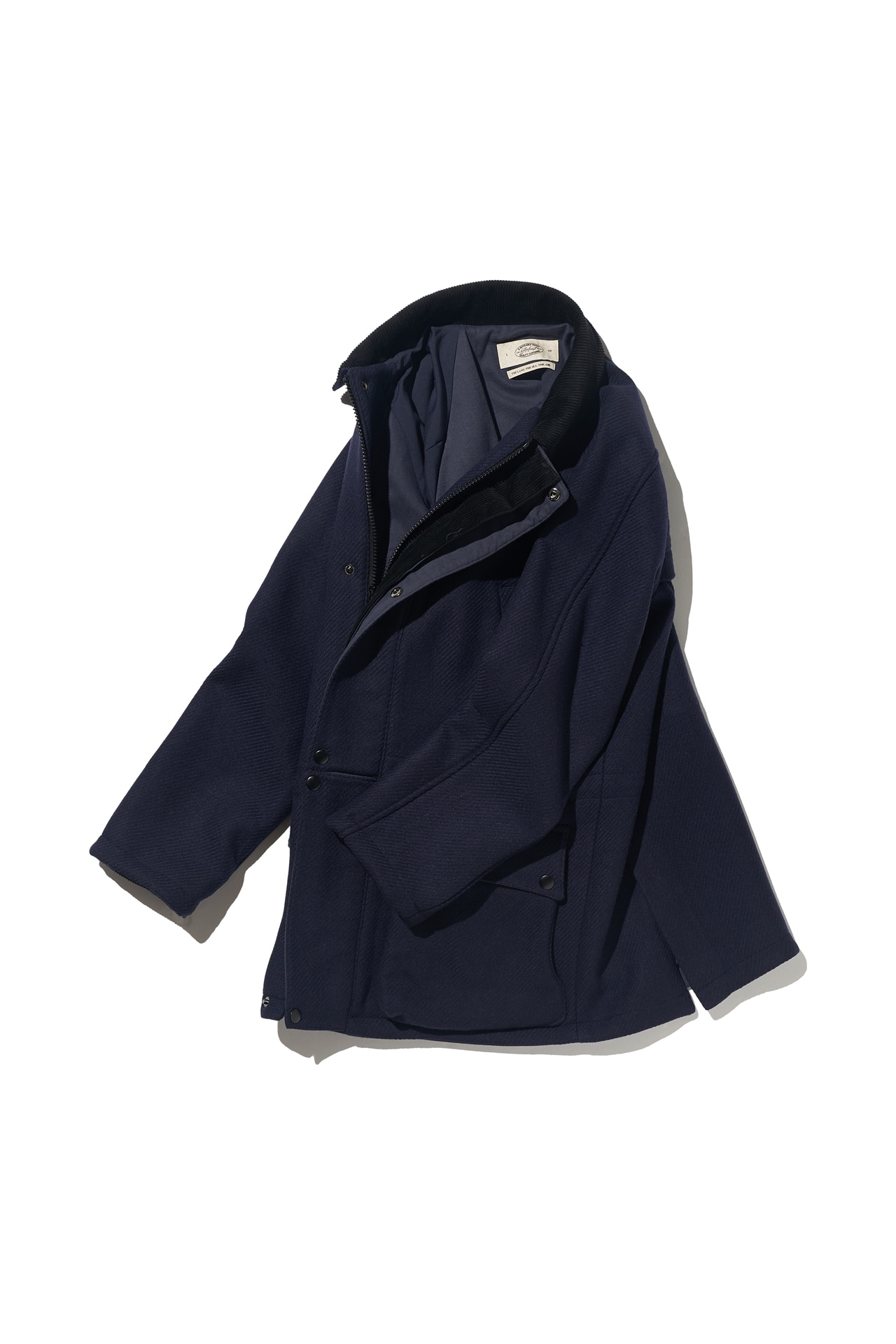 [Amfeast] NAVY SOLID SIGNATURE CITY HALF COAT