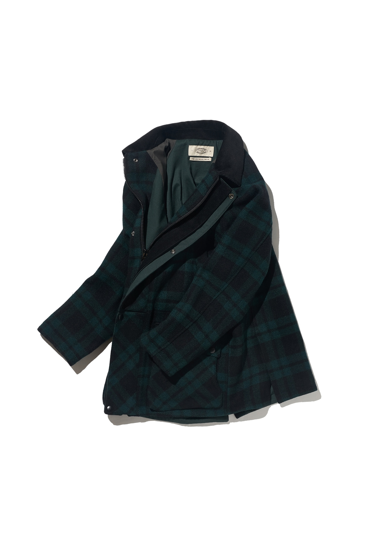 [Amfeast] GREEN TARTAN SIGNATURE CITY HALF COAT