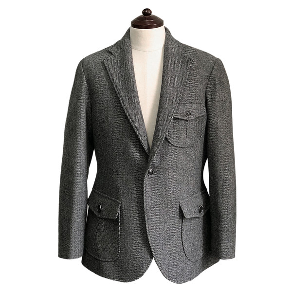 솔티 - Herringbone check Hunting jacket (Charcoal)