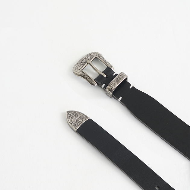 [파이] Misto small western leather belt black