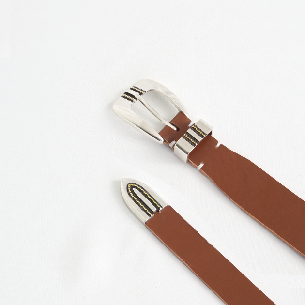 [파이] Alonzo lined basic western leather belt brown