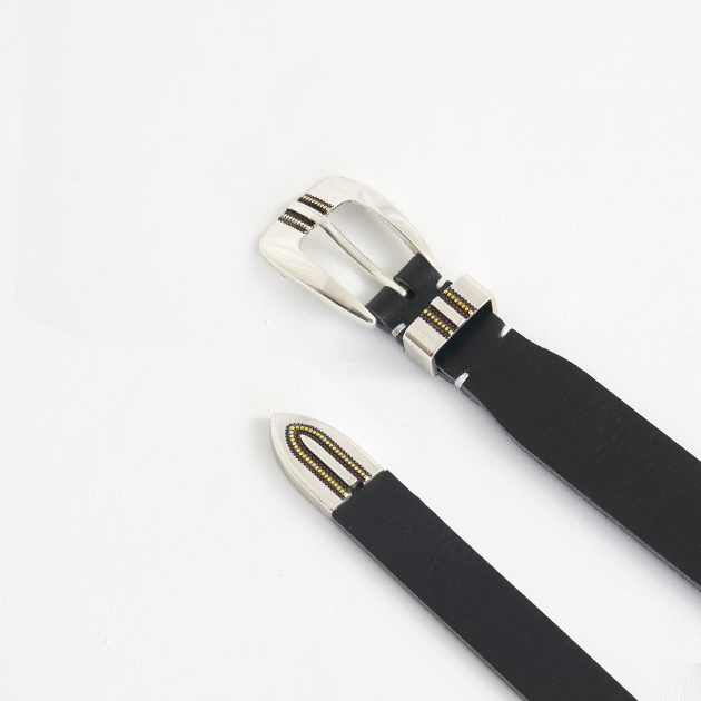 [파이] Alonzo lined basic western leather belt black