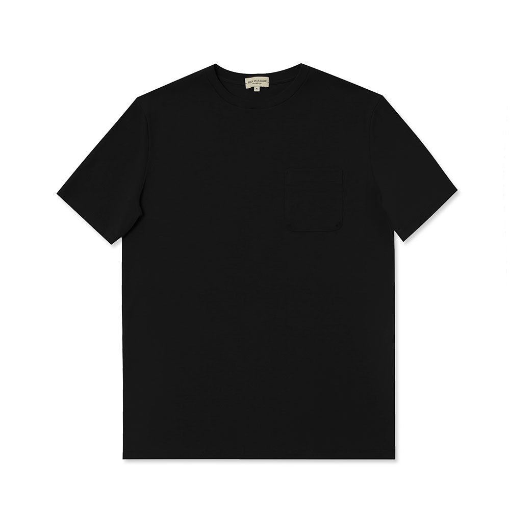[맨인정글] Pino Crew-neck Pocket T-Shirt - Black