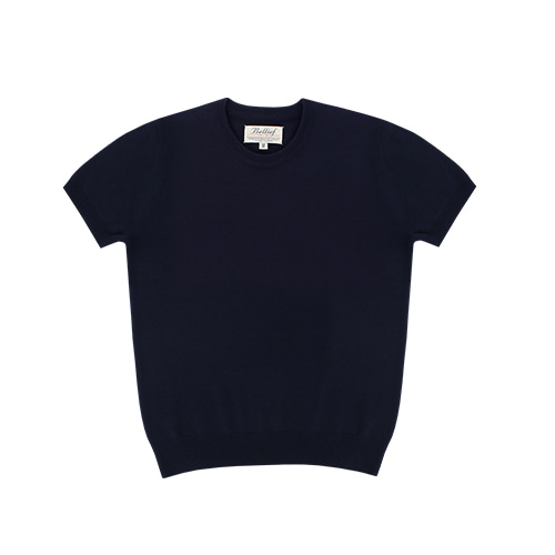 [벨리프] Soft round neck kint (Navy)