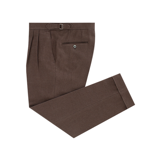 [벨리프] Linen two tuck adjust pants (Brown)