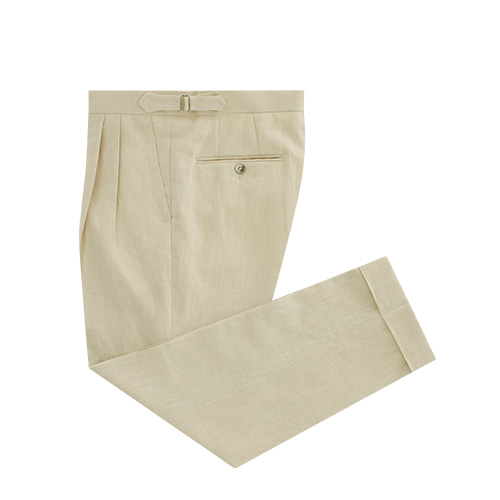 [벨리프] Linen two tuck adjust pants (Beige)