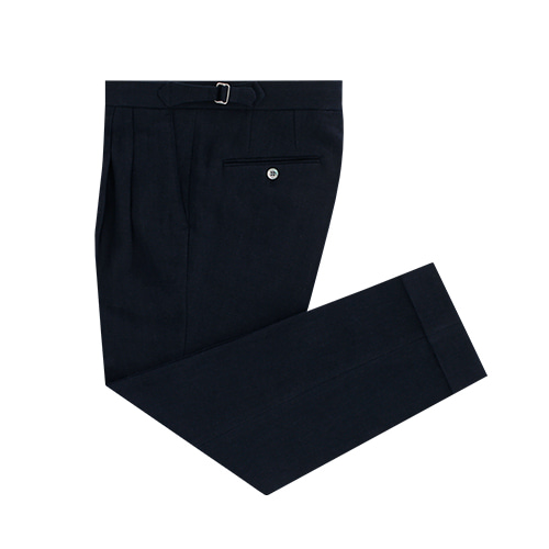 [벨리프] Linen two tuck adjust pants (Navy)