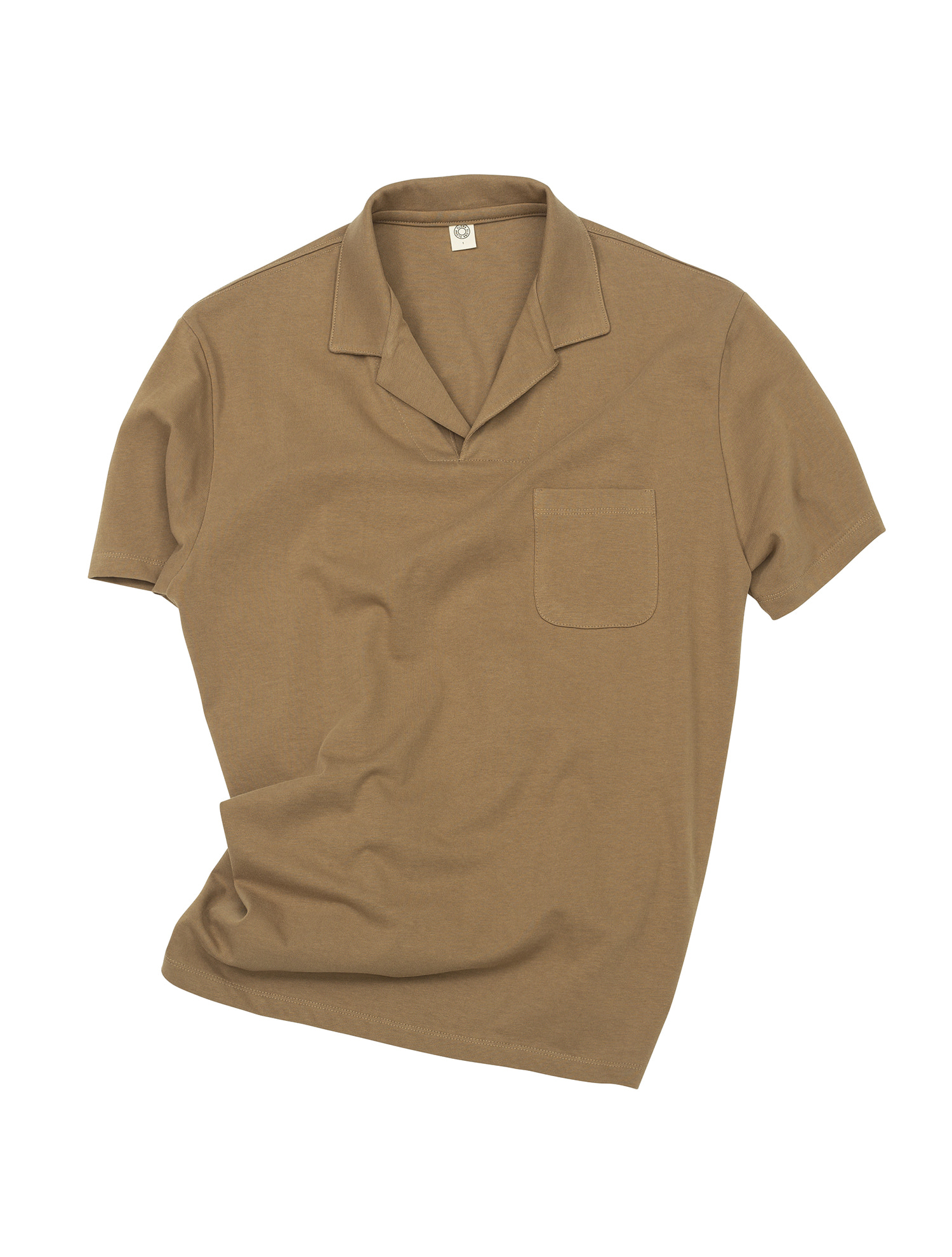 [올드비]  GEN COTTON OPEN COLLAR POLO SHIRT COCA MOCHA
