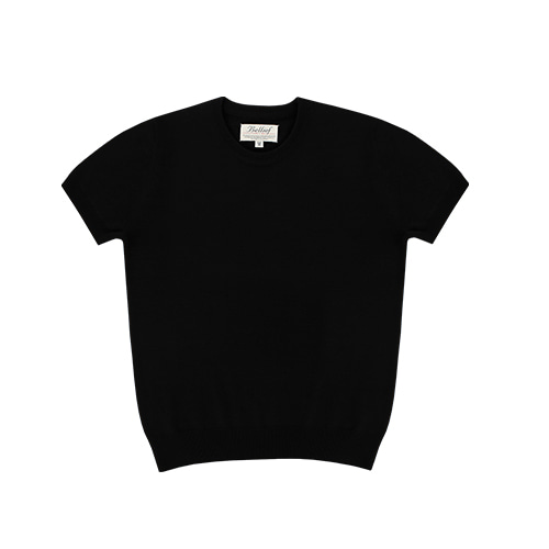 [벨리프] Soft round neck kint (Black)