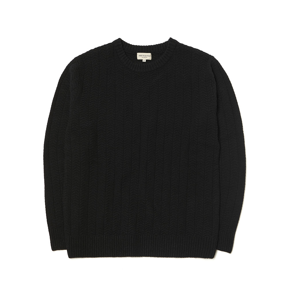[맨인정글] Morgan Herringbone Texture Crew-neck Knit - BLACK