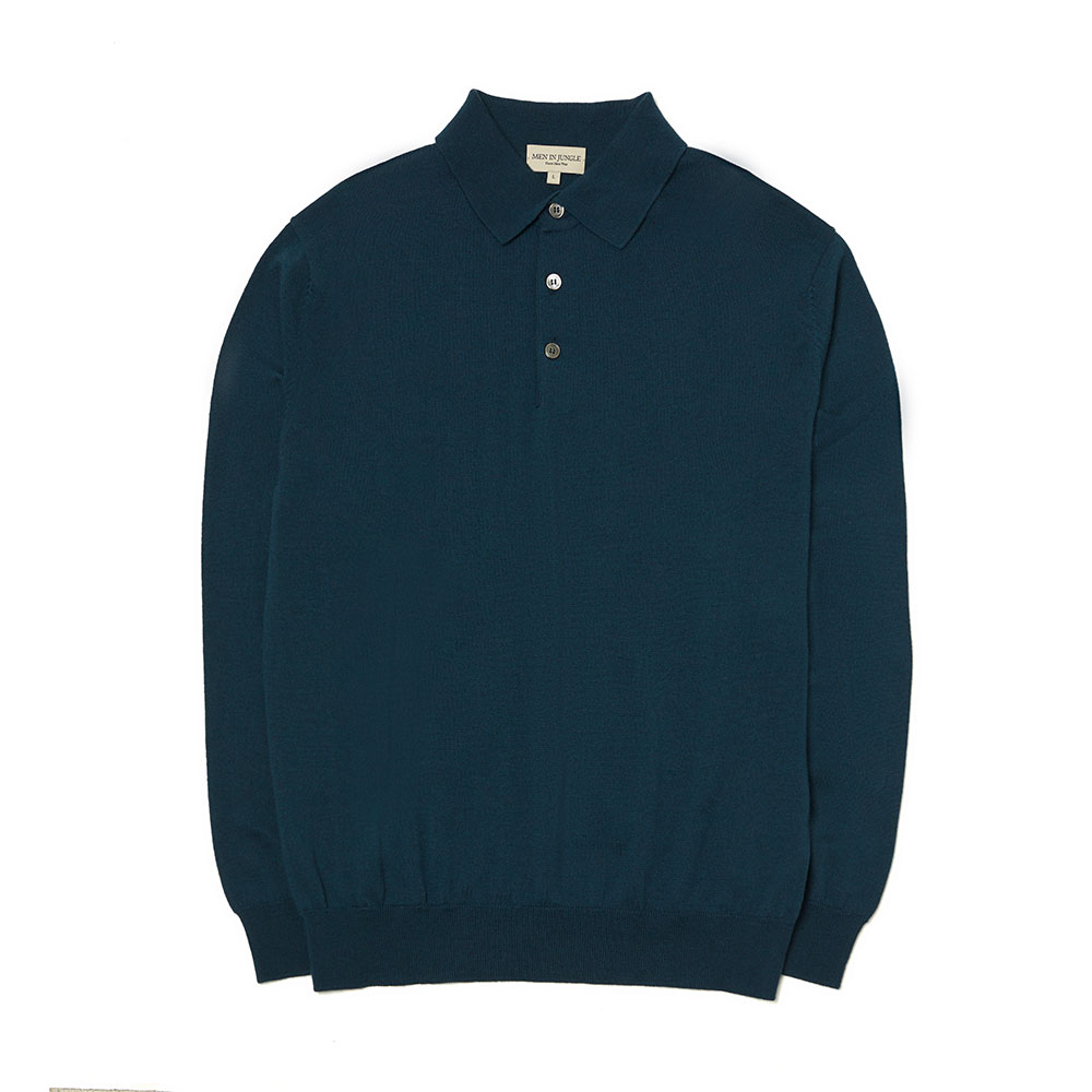 [맨인정글] Queens Merino Wool Polo-collar Knit - Blue Green