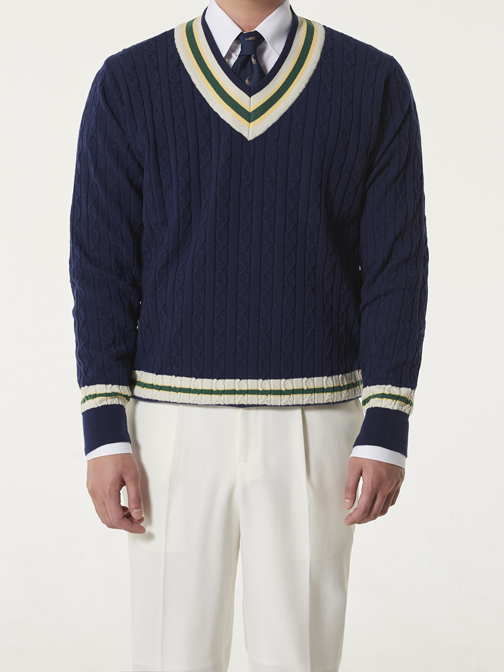 [드베르망] Preppy Cricket Knit - Navy (10/26일발송)