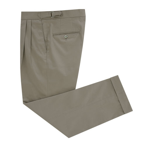 [벨리프] Gaberdine cotton fabric two tuck adjust pants (Khaki_japan fabric)
