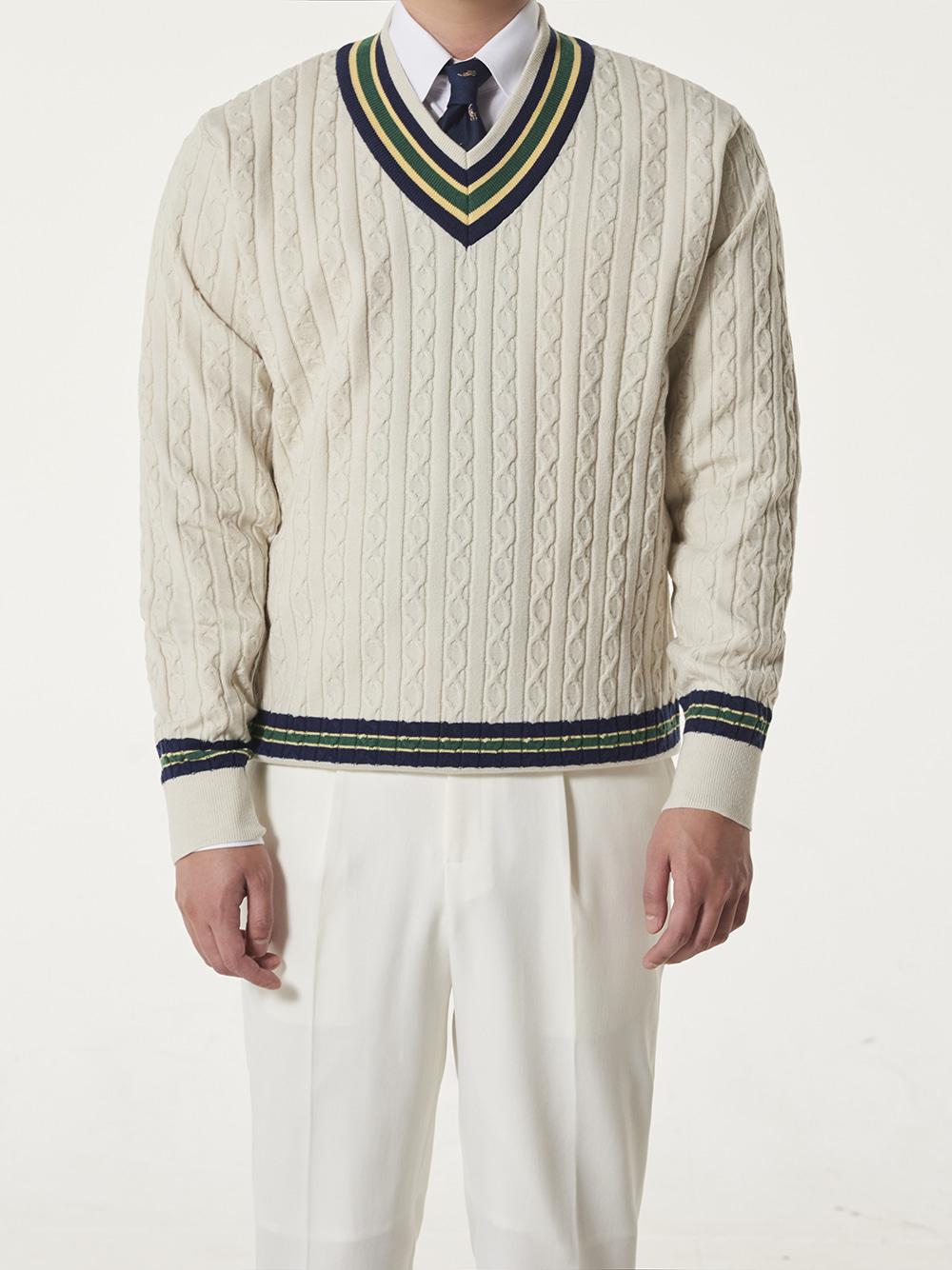 [드베르망] Preppy Cricket Knit - Ivory ((10/26일발송)