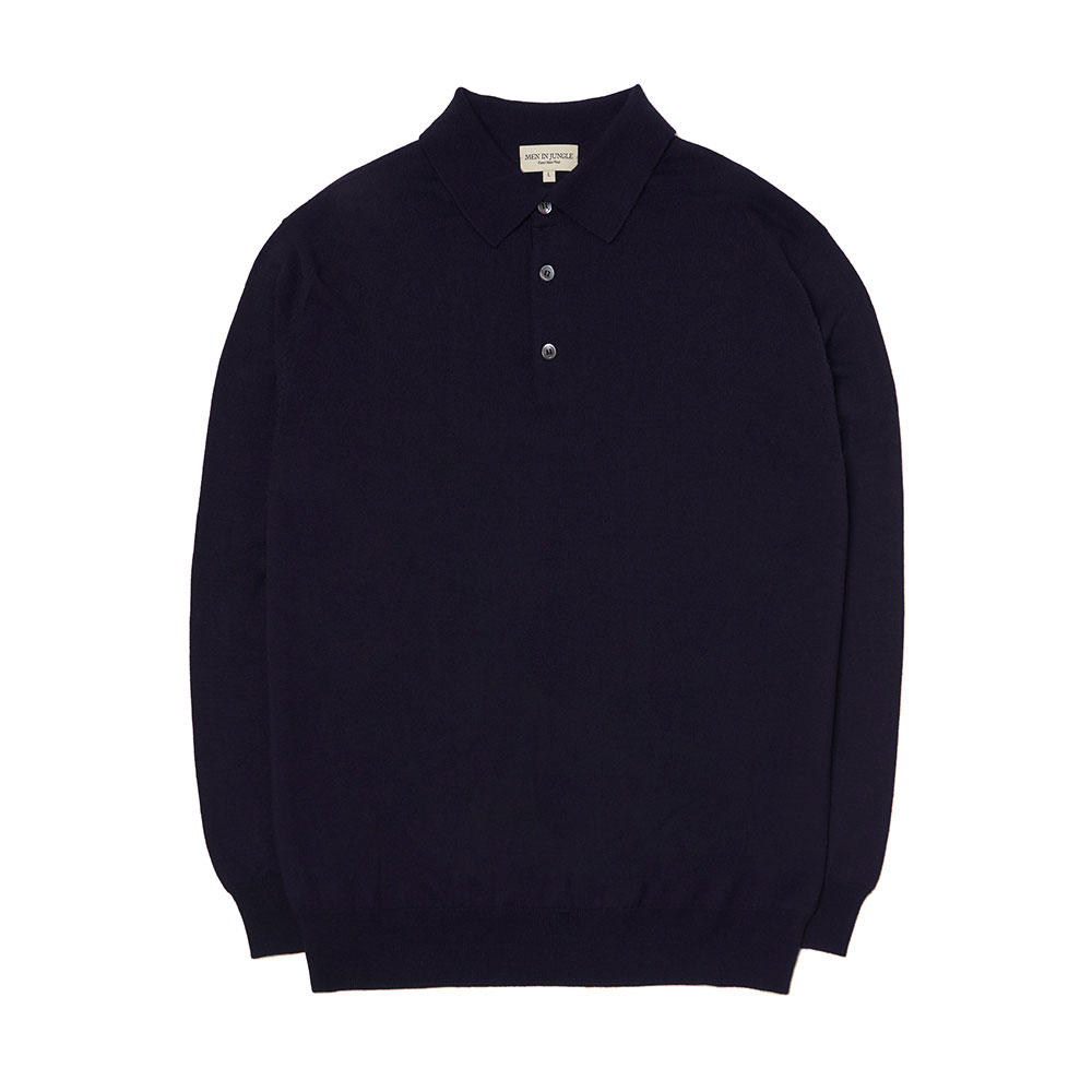 [맨인정글] Queens Merino Wool Polo-collar Knit - Dark Navy