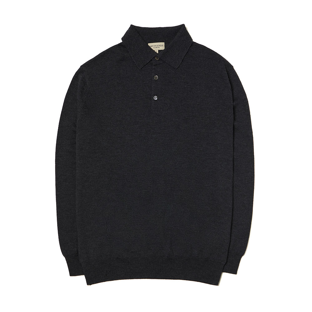 [맨인정글] Queens Merino Wool Polo-collar Knit - Charcoal