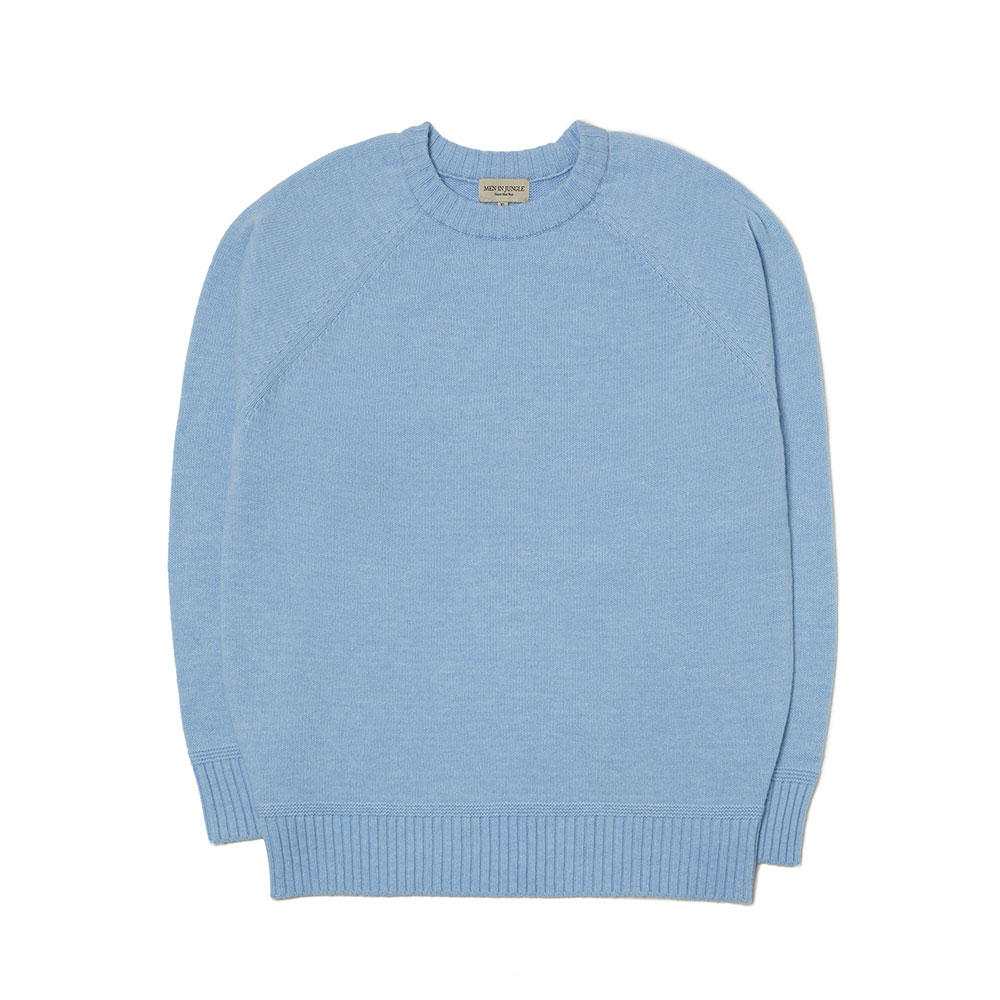 [맨인정글] Bushwick-raglan-Crew-neck Sweater (sky blue)