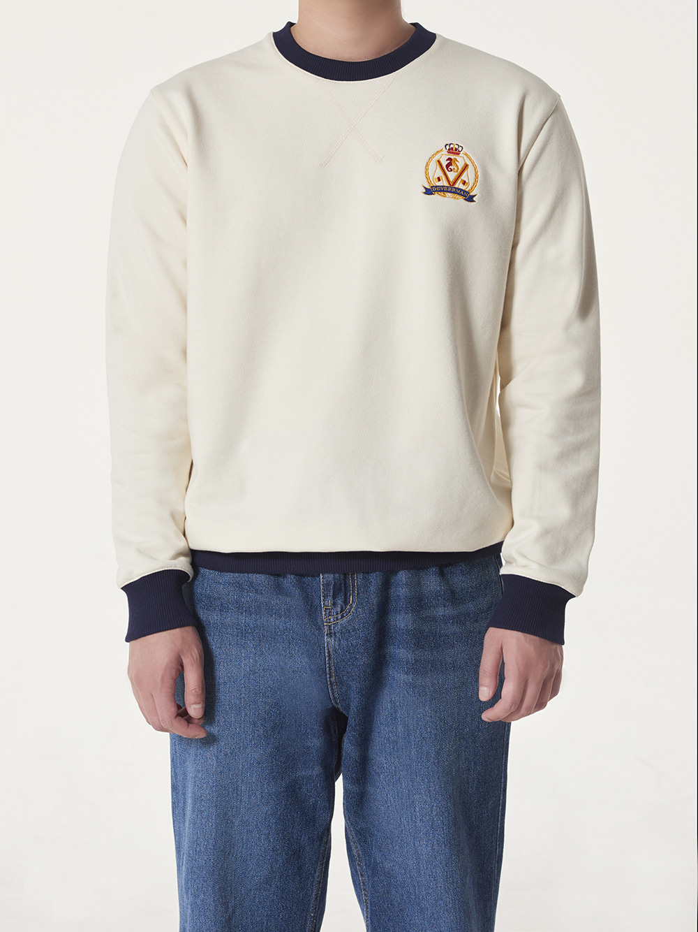 [드베르망] Deverrman emblem sweat shirt (ivory)