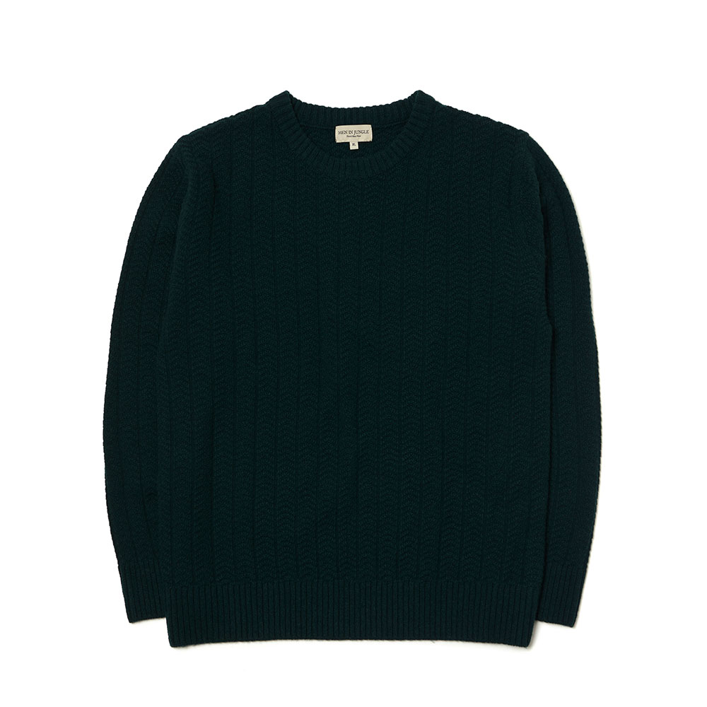 [맨인정글] Morgan Herringbone Texture Crew-neck Knit - Dark Green