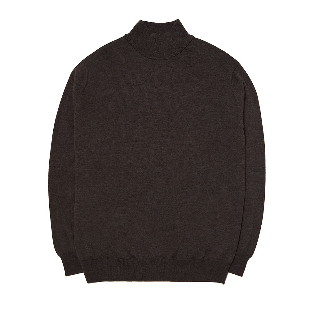 [맨인정글]  Kings Merino Wool Mock-neck Knit - Melange Brown