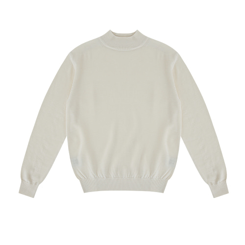 [벨리프]  Wool soft Moc-Neck knit (Ivory)