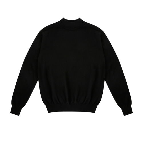 [벨리프]  Wool soft Moc-Neck knit (Black)