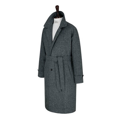 [벨리프] Tweed Herringbone Raglan Balmaccan Coat (Grey)