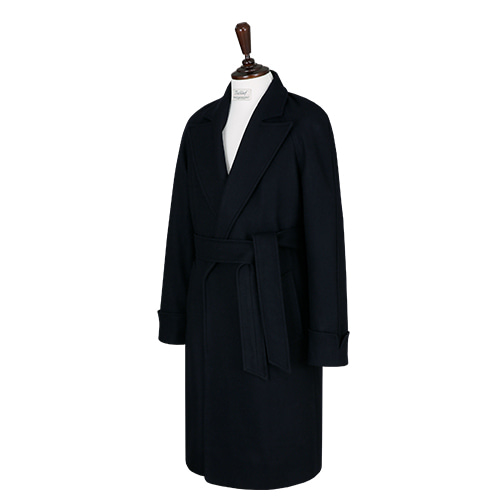 [벨리프]  Wool soft Raglan Robe Coat (Navy)