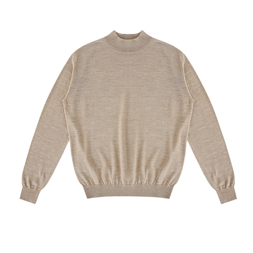 [벨리프]  Wool soft Moc-Neck knit (Oatmeal)