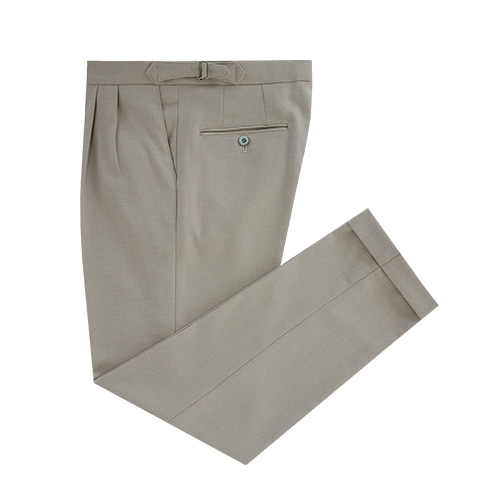 [벨리프] Wool Flannel two tuck adjust pants (Light Beige)