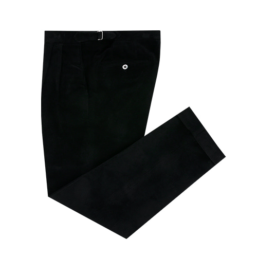 [벨리프] Corduroy two tuck adjust pants (Black)