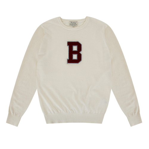 [벨리프] Chenille 'B' Essential Crew neck Knit (Cream)