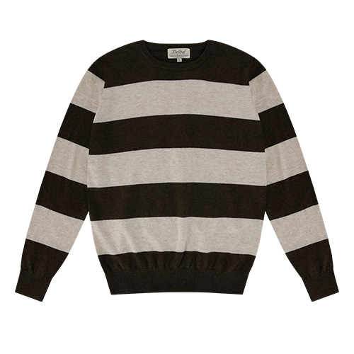 [벨리프] Essential Stripe Crew neck Knit (Brwon/ivory)