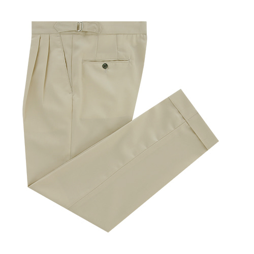 [벨리프]  Wool soft two tuck adjust pants (Cream)