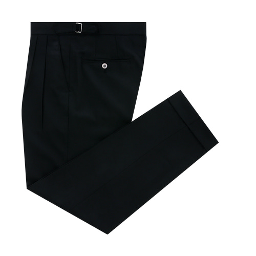 [벨리프]  Wool soft Gaberdine two tuck adjust pants (Black)