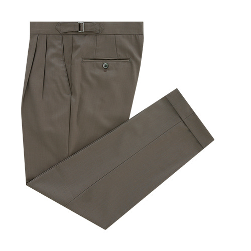 [벨리프] Covert wool two tuck adjust pants (Khaki)