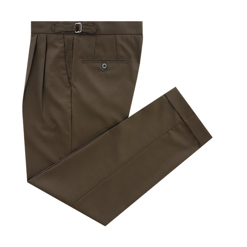 [벨리프] Wool soft two tuck adjust pants (Brown)
